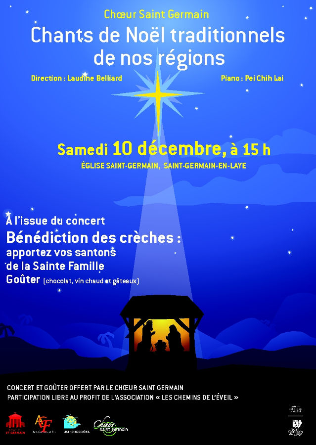 Affiche chants de Noëls traditionnels des régions de France