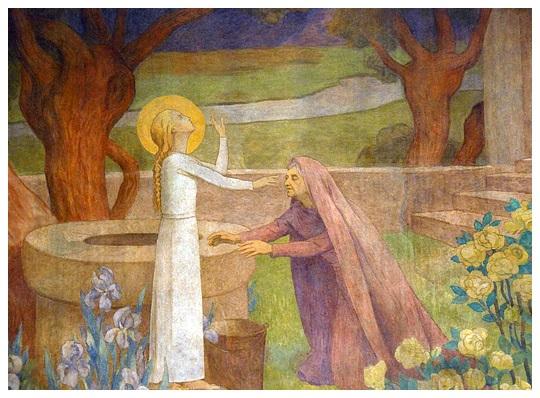 Fresque à la cathédrale : Sainte Geneviève guérissant sa mère